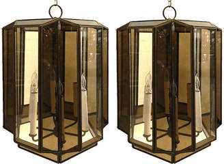 One Kings Lane Vintage Large Brass Hanging Lanterns - Set of 2 - Thomas Brillet Inc.