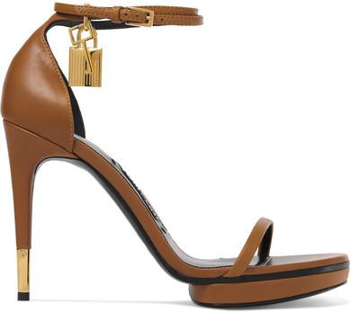 TOM FORD - Embellished Leather Sandals - Tan