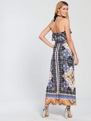 Very Halter Neck Printed Jersey Maxi Dress - Multi