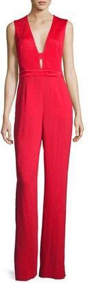 Diane von Furstenberg Kyara Plunge-Neck Tuxedo Jumpsuit, Scandal Red $548 thestylecure.com