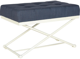 """One Kings Lane Elise 33"""" Campaign Linen Bench - Navy"""