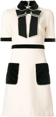 short-sleeved embellished dress