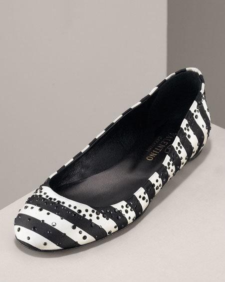 Valentino Crystal Satin Ballet Flat, Striped
