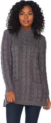 Denim & Co. Marled Long Sleeve Mock Neck Pullover Tunic Sweater