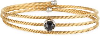 Alor Yellow Cable Triple-Wrap Bangle Bracelet with Onyx