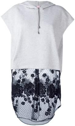 Giamba lace detailing shortsleeved hoodie