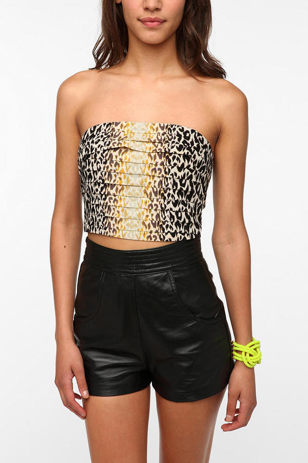 Silence & Noise Pleated Strapless Top