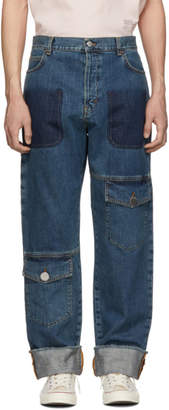 J.W.Anderson Blue Shaded Multi-Pocket Jeans