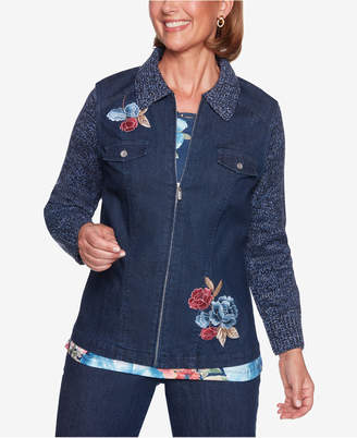 Alfred Dunner Petite Knit-Sleeve Embroidered Denim Jacket