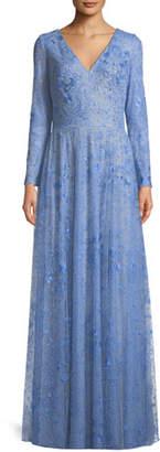 Tadashi Shoji Celestial Lace V-Neck Long-Sleeve Gown