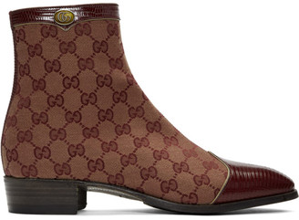 Gucci Burgundy Canvas Original GG Boots