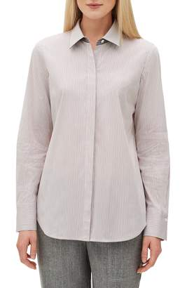 Lafayette 148 New York Scottie Coy Stripe Shirting Blouse