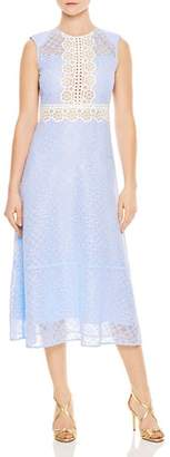 Sandro Hot Sheer-Inset Floral Lace Midi Dress