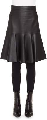 Akris Punto Ruffled Hem Leather Skirt