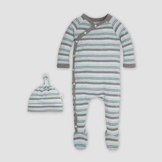 Burt's Bees Baby® Organic Cotton Sixties Stripe & Knot Coverall & Cap Set - Seaglass