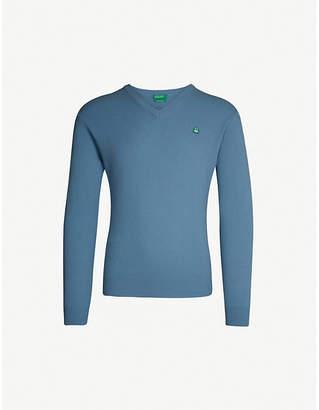 Benetton Unisex V-neck wool-blend jumper