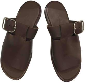 Hermes Brown Leather Sandals