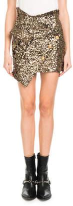 Redemption Asymmetric Sequin Mini Skirt