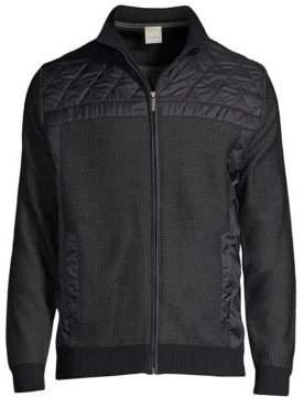 Bugatti Men's Zip Front Sweater - Navy - Size Large