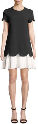 Shoshanna Dania Short-Sleeve Two-Tone Mini Dress w/ Scalloped Edges & Tiered Hem