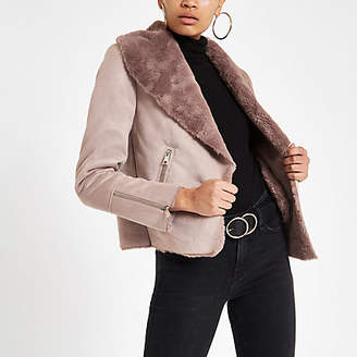 River Island Pink fallaway faux suede jacket