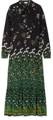 RED Valentino Floral-print Silk-chiffon Maxi Dress - Black