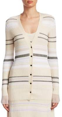 Proenza Schouler Striped V-Neck Cardigan
