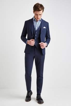 Next Mens Moss London Skinny Fit Navy Linen Jacket