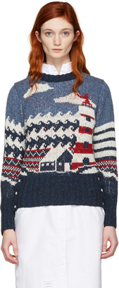 Thom Browne Tricolor Crewneck Graphic Sweater $490 thestylecure.com