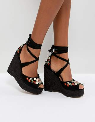 Asos DESIGN TAMIKO Embroidered High Wedges