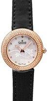 Charmex ラスベガス6296 35 mmステンレススチールCase Black Calfskin Synthetic Sapphire Women 's Watch