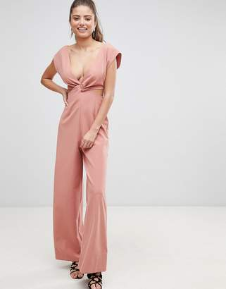 Asos Design DESIGN knot front jumpsuit with cut out detail and wide leg