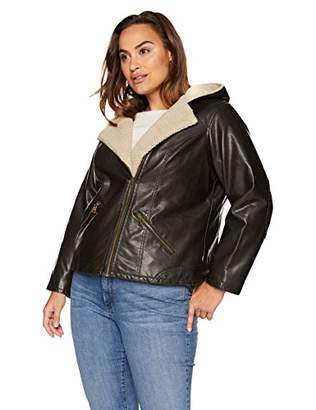 9879571dc6a Levi s Women s Plus Size Faux Leather Sherpa Lined Hooded Moto Jacket