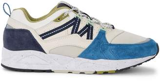 Karhu Fusion 2.0 White Leather And Nylon Sneaker With Blue Suede