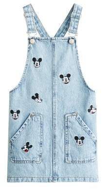 MANGO Mickey Mouse denim pinafore dress