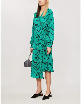 Gestuz Aylin ripple-print satin midi dress