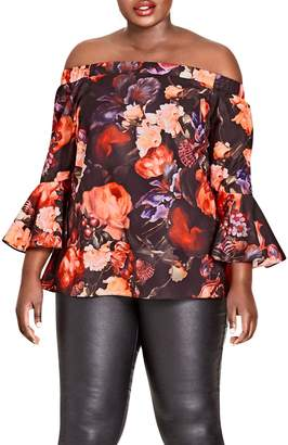 City Chic Opulence Off the Shoulder Bell Sleeve Top