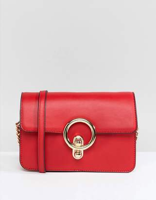 Glamorous Red Ring Detail Cross Body Bag