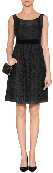 Anna Sui Black Botanic Lace Dress