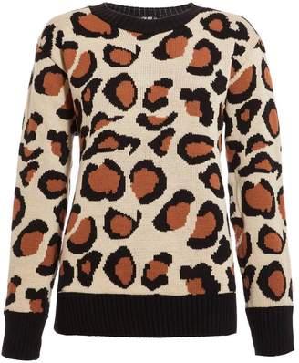 Quiz Stone And Black Leopard Print Long Sleeve Jumper