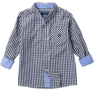 Andy & Evan Navy Gingham Button Down Shirt (Little Boys)