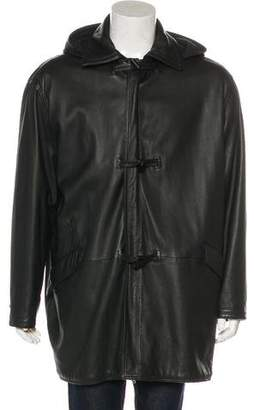 Gianni Versace Leather Wool-Lined Coat