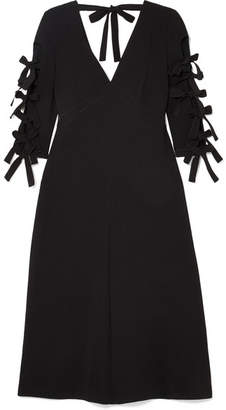 Bottega Veneta Bow-detailed Crepe Midi Dress - Black