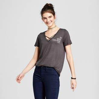 "Zoe+Liv Women's ""Do Good. Feel Good"" Short Sleeve Criss-Cross V-Neck Graphic T-Shirt - Zoe+Liv (Juniors') - Charcoal"