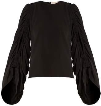 Roksanda Safiya ruched-sleeve silk-georgette blouse