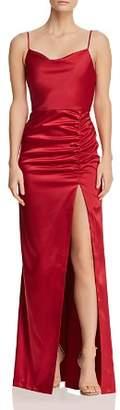 Aqua Drape-Neck Ruched Gown - 100% Exclusive