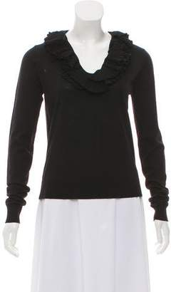 Givenchy Ruffle-Accented Long Sleeve Sweater