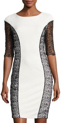 JAX Half-Sleeve Lace-Inset Sheath Dress, Black/White $119 thestylecure.com