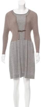 Fabiana Filippi Leather-Accented Wool Dress