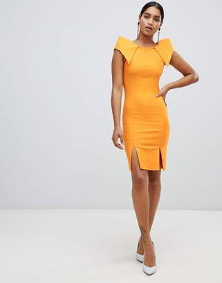 Vesper boat neck split front pencil dress